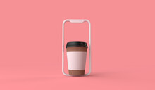 Online Take Away Or Delivery Coffee Order From A Smartphone. 3D Rendering