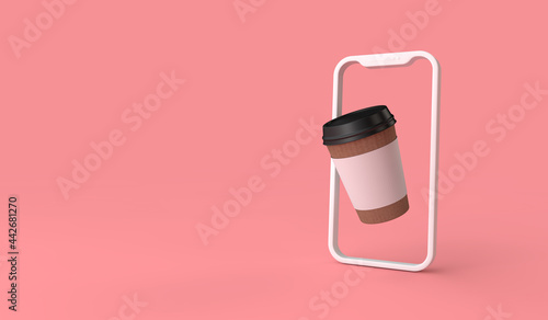 Fotografie, Obraz online take away or delivery coffee order from a smartphone