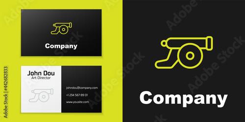 Obraz na plátne Logotype line Ramadan cannon icon isolated on black background