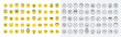 Emoji smiles emoticons set isolated. Yellow faces with different funny emotions. Simple doodle design icons. Chat elements. UI, UX for mobile app, social media or web. Flat style vector illustration.