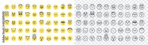 Fotografie, Obraz Emoji smiles emoticons set isolated