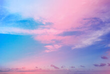 A Beautiful Neon Pink And Blue Sky With Clouds. A Cloudscape From Fancy Dreams.