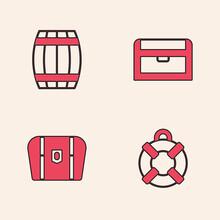 Set Lifebuoy, Wooden Barrel, Antique Treasure Chest And Icon. Vector