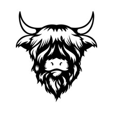 Highland Cow Head Design On White Background. Farm Animal. Cows Logos Or Icons. Vector Illustration.