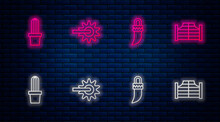 Set Line Spur, Tooth, Cactus Peyote In Pot And Saloon Door. Glowing Neon Icon On Brick Wall. Vector
