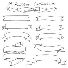 手描きのおしゃれなリボンの線画のセット