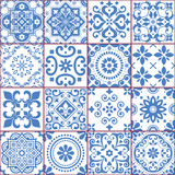 Fototapeta Kuchnia - Portuguese and Spanish azulejo tiles seamless vector pattern collection in blue and white, traditional floral design big set inspired by tile art from Portugal and Spain
