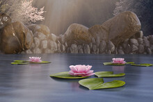 Fantasy Fairy Pond With Lily Pads And Lotus Flowers, #d Render.
