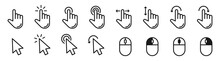 Hand Pointer Cursor Mouse Icon Set. Black Finger Touch Screen Symbol, Clicking Cursor Arrow, Mouse Computer Key. Click, Tap, Swipe, Slide , Hand Signs. Isolated UI Vector Design On White Background.