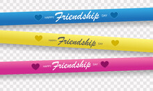 Happy Friendship Day Poster. Realistic Greeting Card With Friendship Hands And Bracelets. Festive Postcard. Vector