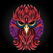 Hand Drawn Ornate Spiritual Symbols, Totemic And Mascot Owl. It Can Be Used For Tattoo And Embossing Or Coloring. Mandala Ornament Illustration Isolated