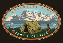 Summer Camping Vintage Colorful Badge