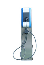 Fast Electric Car Charger Green Energy Environment Friendly Driving Vehicle Station. Modern Transport Fuel Of Future. Minimal Design Power Unit Isolated On White Background