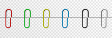 Set Of Vector Paper Clips On Isolated Transparent Background. Attached Paper Clip. Metal Paper Clip Png.