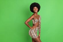 Photo Of Funny Adorable Dark Skin Woman Dressed Snake Top Arm Waist Looking Back Empty Space Isolated Green Color Background