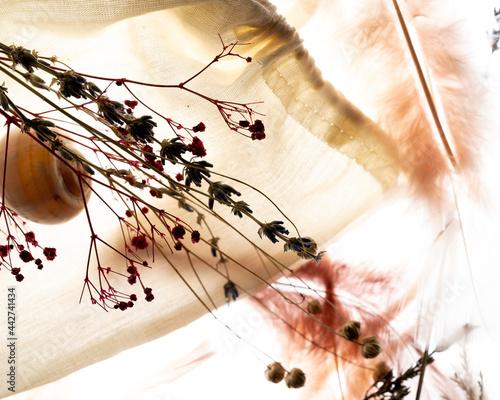 Romantic vintage concept of  dried flowers, purple lavender, organic linen bag , conch and soft feathers Fototapeta