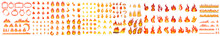Collection Of Fire Icons, Fire Flame Icon. Isolated Bonfire Sign, Emoticon Flame Symbol Isolated On White,vector Isolated Fire Emoji, Fire Flames, Set Vector Icons