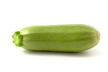 Little Fresh Young Green Zucchini On A White Background