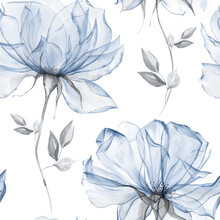 Watercolor Dusty Blue Floral Seamless Pattern For Fabric. Watercolor Royal Blue Pattern Repeat Floral Background For Apparel, Wallpaper, Wrapping Paper, Home Decor