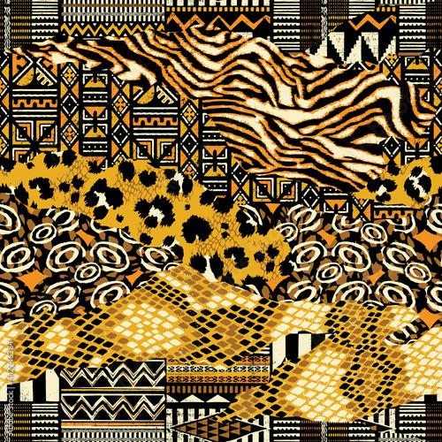Tapety Etniczne  tradycyjna-afrykanska-tkanina-i-dzikie-skory-zwierzece-abstrakcyjne-wektor-wzor-patchworkowy-tapeta