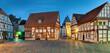 canvas print picture - Marktplatz Obernkirchen beleuchtet