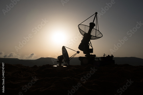 Wallpaper Mural Space radar antenna on sunset