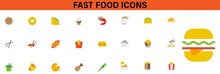 Fast Food Icons. Big Vector Set: Isolated Food Icons (delicious Dishes). Healthy Food , Junk Food , Seafood, Fast Food, Drinks