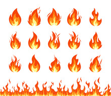 Fire Icon. Vector Set Of Fire Flame Emoji, Flaming Symbols, Heat Wildfire And Red Hot Bonfire. Cartoon Campfire Isolated On White Background. Horizontal Seamless Pattern Of Fire. Energy And Power