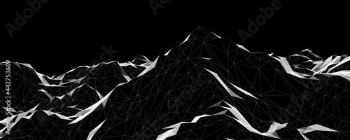 Fotografie, Obraz 3D black and white low polygon topographic terrain.