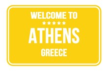 WELCOME TO ATHENS - GREECE, Words Written On Yellow Street Sign Stamp
