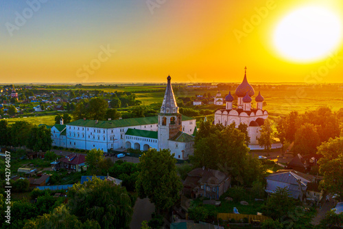 Obraz na plátne Aerial drone view of Suzdal Kremlin and cathedral of Nativity at the Kamenka river, Russia