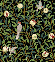 Vintage Birds In Foliage With Birds And Fruits Seamless Pattern On Dark Background. Middle Ages William Morris Style. Vector Illustration.