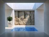 Fototapeta Przestrzenne - Courtyard with swimming pool and rock wall
