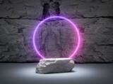 Fototapeta Przestrzenne - Stone product stand and glowing neon ring