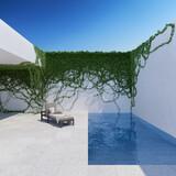 Fototapeta Przestrzenne - Courtyard with chaise lounge and swimming pool