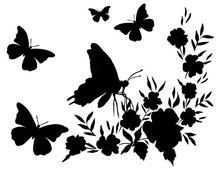 Silhouettes Of Bouquets Of Flowers And Butterflies. Composition. Hand Drawn. Template.