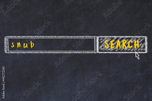 Fototapeta Chalk drawing of search engine and inscription on black chalkboard