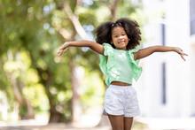 Afro American Children Happy Under The Tree
