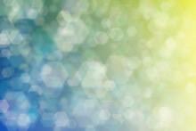 Beige To Green Abstract Defocused Background, Hexagon Shape Bokeh Spots