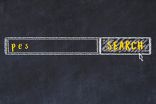 Chalk Sketch Of Browser Window With Search Form And Inscription Pes