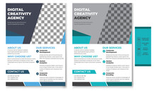 Business Flyer Brochure Design For Marketing Business.  The Corporate Flyer, The Corporate Banner, And The Corporate Leaflet. Layout With Triangles In Graphic Design
