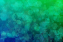 Harmonic Gradient With Transitions Of Green And Blue Colors And Hexagon Shaped Bokeh