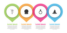 Set Magic Staff, Ball, Stone Ring With Gem And Witch Hat. Business Infographic Template. Vector
