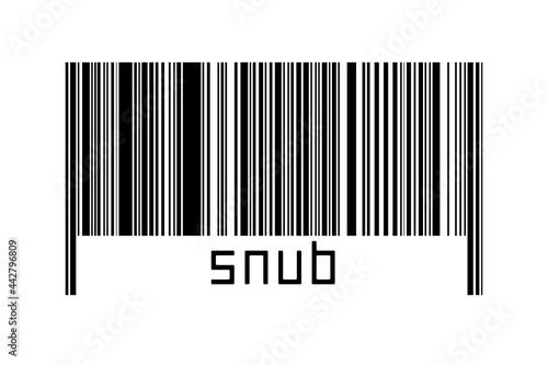 Obraz na plátně Barcode on white background with inscription snub below