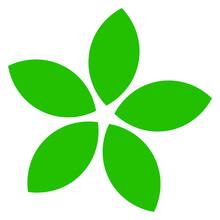 Green Leaf, Petal Shape, Greenery Foliage Icon, Symbol, Pictogram