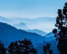 Blue Hazy Mountains Recede In Distance, Sequoia National Park