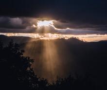 Sunlight Rays Burst Through Clouds After Storm, Yosemite California