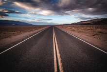 Lonely Desolate Road Stretches To Horizon, Death Valley National Park