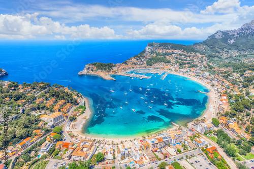 Aerial view of  Porte de Soller, Mallorca island, Spain