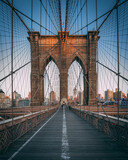 On the Brooklyn Bridge walkway, New York City